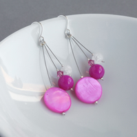 Fuchsia Drop Earrings - Cerise 3 Strand Earrings - Bright Pink Jewellery - Gifts