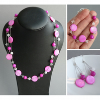 Fuchsia Floating Pearl Jewellery Set - Hot Pink Necklace, Bracelet and Earrings