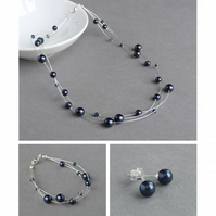 Navy Jewellery Set - Floating Pearl Necklace, Bracelet and Stud Earrings - Gifts