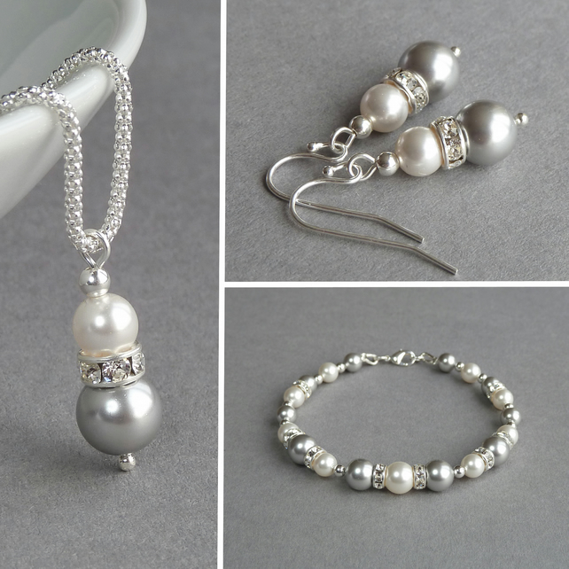 Silver Pearl and Crystal Jewellery Set - Light Grey Bridesmaid Gifts