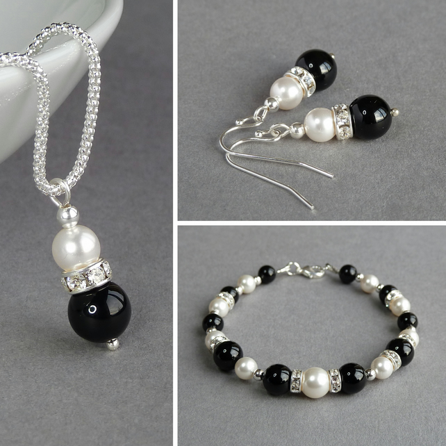 Black Onyx and Crystal Jewellery Set - Necklace, Bracelet and Pearl Earrings
