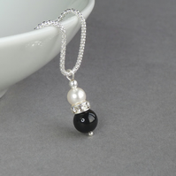 Jet Black Drop Pendant - Onyx and Ivory Pearl Bridesmaid Jewellery - Weddings