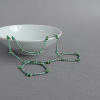Long Sage Green Necklace - Beaded Mint Necklaces - Spiky Jewellery