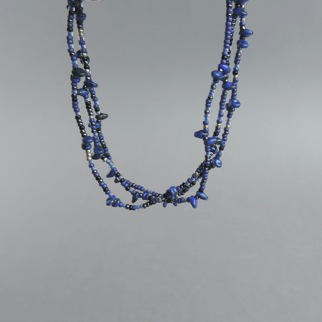 Long Royal Blue Necklace - Dark Blue Beaded Necklaces - Navy Spiky Jewellery