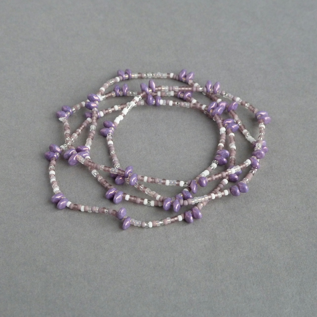 Long Lilac Necklace - Mauve Clasp Free Necklace - Violet Spiky Jewellery