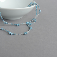 Long Powder Blue Necklace - Pale Blue Beaded Necklaces - Duck Egg Blue Jewellery
