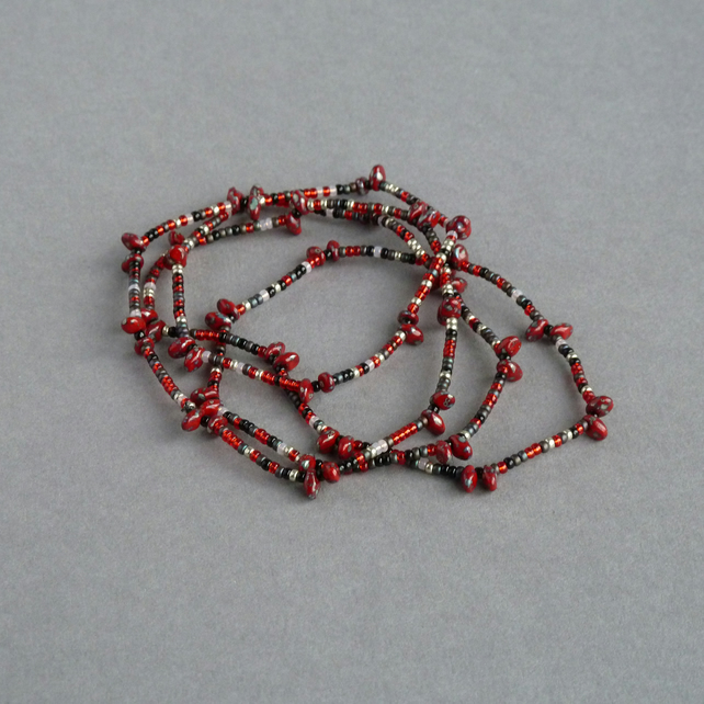 Long Red Necklace - Scarlet Spiky Beaded Necklaces - No Clasp Jewellery