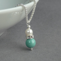 Aqua Pearl Pendant Necklace - Turquoise Wedding Accessories - Bridesmaid Gifts