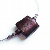 Plum Fused Glass Necklace - Aubergine Necklace - Purple Lampwork Jewellery