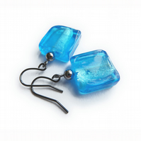 Turquoise Fused Glass Earrings - Aquamarine Drop Earrings - Sea Blue Jewellery
