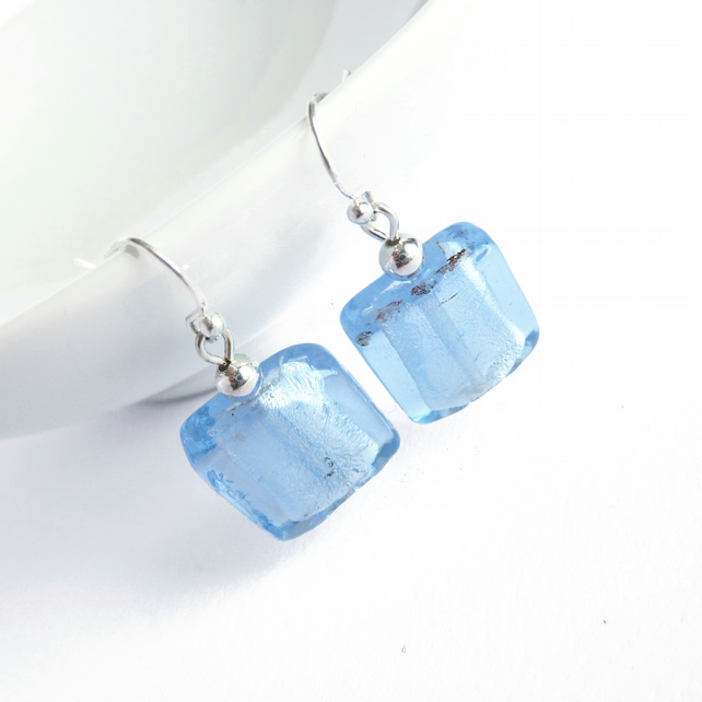 Pale Blue Fused Glass Earrings - Powder Blue Drop Earrings - Cornflower Blue