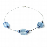 Pale Blue Fused Glass Necklace - Light Blue Necklace - Cornflower Blue Jewellery