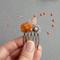 Orange and Peach Flower Hair Comb - Floral Hair Accessories - Peach Wedding