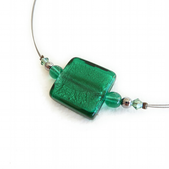 Teal Fused Glass Necklace - Emerald Green Necklace - Lampwork Bead Jewellery