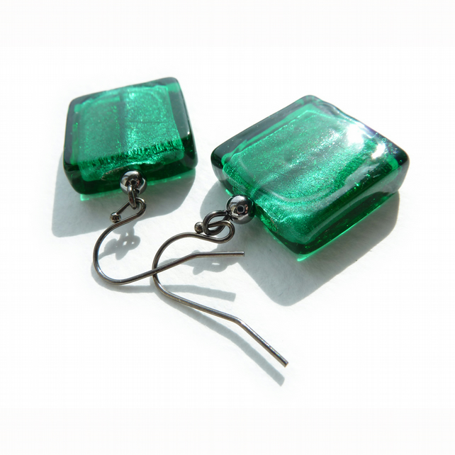 Teal Green Earrings - Square, Fused Glass, Emerald, Dangly Earrings