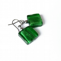 Green Fused Glass Earrings - Grass Green Dangly Earrings - Emerald Drop Earrings