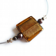 Brown Fused Glass Necklace - Topaz Square Bead Necklace - Coffee Glass Jewellery