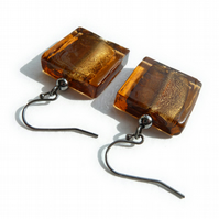 Brown Fused Glass Earrings - Square Glass Earrings - Dark Coffee Drop Earrings