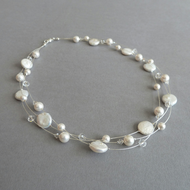 Ivory Freshwater Pearl Necklace - Floating Pearl Necklace - Bridal Jewellery