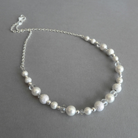 Ivory Stardust Necklace - White Pearl and Crystal Bridal Jewellery - Wedding