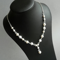 Stardust Y Chain - White Pearl & Crystal Bridal Jewellery - Wedding Accessories