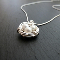 White Freshwater Pearl Nest Pendant - Wire-wrapped Sterling Silver Necklace