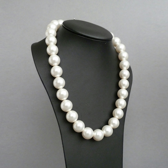 Chunky Ivory Pearl Necklace - White Swarovski Pearl Bridal Jewellery - Wedding