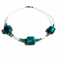 Teal Fused Glass Necklace - Aquamarine Lampwork Glass Jewellery - Gifts