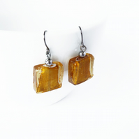 Amber Fused Glass Earrings - Mustard Yellow Earrings - Gold Drop Earrings