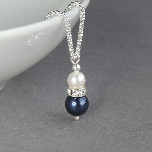 Navy Pearl and Crystal Necklace - Dark Blue Drop Peandant - Wedding Jewellery