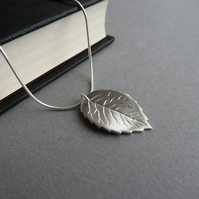 Fine Silver Rose Leaf Pendant - Handmade Silver Necklace - Silver Jewellery