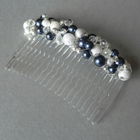 Navy Stardust Hair Comb - Dark Blue Pearl Hair Accessories - Wedding Fascinator