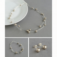 Champagne Floating Pearl Jewellery Set - Wedding Necklace, Bracelet and Earrings