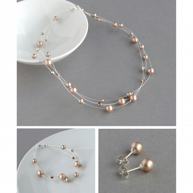 Rose Gold Jewellery Set - Copper Floating Pearl Necklace, Bracelet and Earrings