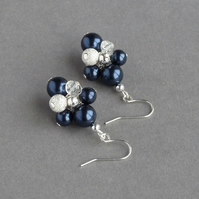 Navy Stardust Earrings - Midnight Blue Pearl Cluster Earrings - Bridesmaid Gifts