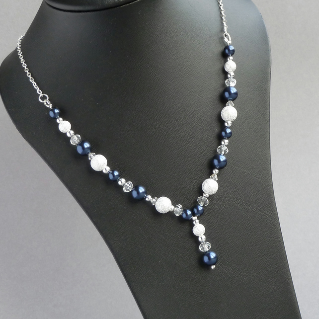 Navy Stardust Y Necklace - Dark Blue Pearl Jewellery - Bridesmaid Gift - Wedding