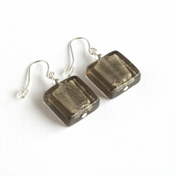 Grey Fused Glass Earrings - Square Drop Earrings - Dangly Earrings - Jewellery