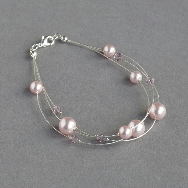 Blush Pink Floating Pearl Bracelet - Pale Pink Bridesmaid Jewellery - Gifts