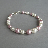 Dusky Pink Pearl and Crystal Bracelet - Rose Bridesmaids Jewellery - Wedding