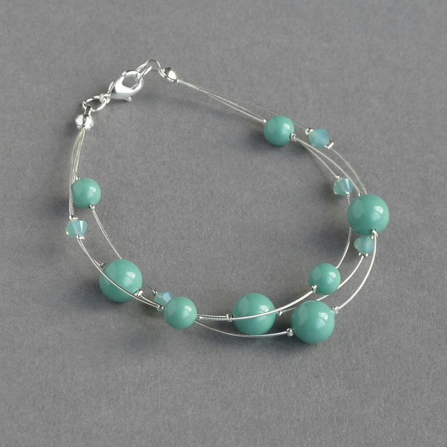 Aqua Floating Pearl Bracelet - Jade Multi-strand Jewellery - Bridesmaid Gifts