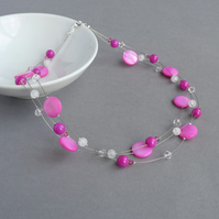 Fuchsia Multi-strand Necklace - Hot Pink Floating Pearl Jewellery - Cerise Gifts