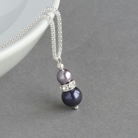 Dark Purple Necklace - Lilac and Amethyst Pearl Bridesmaids Jewellery - Gifts