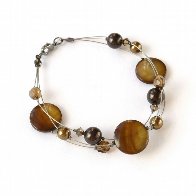 Golden Brown Floating Pearl Bracelet - Coffee Multi-strand Jewellery - Gifts