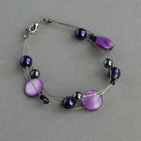 Purple 3 Strand Bracelet - Floating Pearl Jewellery - Purple Bridesmaid Gifts