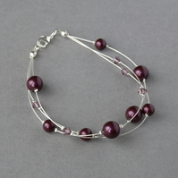 Plum Floating Pearl Bracelet - Purple Multi-strand Jewellery - Bridesmaid Gifts