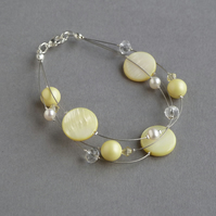Pale Yellow Floating Pearl Bracelet - Lemon Bridesmaid Gifts - Pastel Wedding