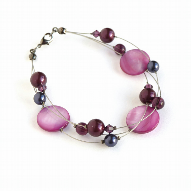 Plum Multi-strand Pearl Bracelet - Pink Purple Bridesmaid Jewellery - Gifts