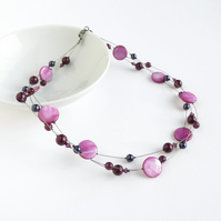 Plum Multi-strand Pearl Necklace - Pink Purple Necklaces - Bridesmaids Jewellery