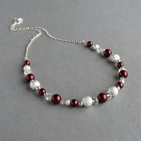 Dark Red Stardust Necklace - Crimson Pearl Jewellery - Claret Bridesmaid Gifts