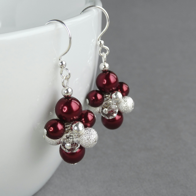 Dark Red Stardust Earrings - Burgundy Cluster Earrings - Pearl Drop Earrings